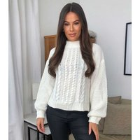 Urban Bliss Off White Cable Knit Puff Sleeve Jumper New Look