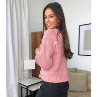 Urban Bliss Pink Cable Knit Puff Sleeve Jumper New Look