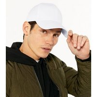 White Canvas Twill Cap New Look