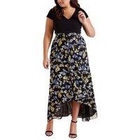 Mela Curves Black Floral Dip Hem Maxi Dress New Look