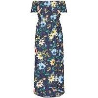 Mela Curves Blue Floral Polka Dot Maxi Dress New Look