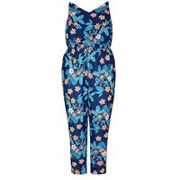 Mela Curves Blue Tropical Drawstring Jumpsuit New Look