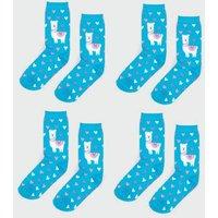 4 Pack Teal Llama Heart Socks New Look