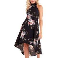 Mela Black Floral High Neck Midi Dress New Look