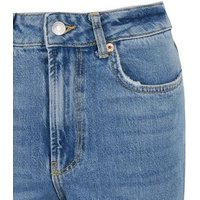 Petite Mid Blue Ripped Ankle Grazing Hannah Straight Leg Jeans New Look