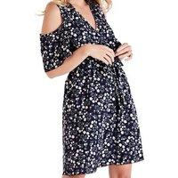 Mela Navy Floral Cold Shoulder Wrap Dress New Look