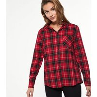 Red Check Pocket Front Collared Shirt New Look