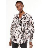 White Zebra Print Puff Sleeve Long Shirt New Look