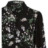 Black Wild Floral Print Dip Hem Shirt New Look