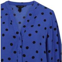 Blue Spot Puff Sleeve Long Shirt New Look