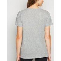 Grey Marl 00's Baby Slogan T-Shirt New Look