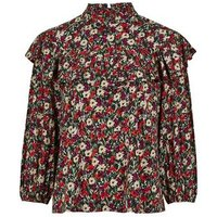Red Floral Frill Trim High Neck Blouse New Look