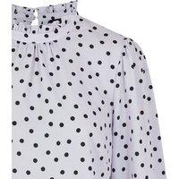 Light Grey Spot High Frill Neck Blouse New Look