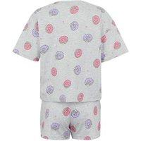 Girls Light Grey Doughnut Slogan Short Pyjama Set New Look