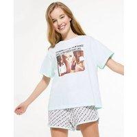 Girls Mint Green Friends Meme Short Pyjama Set New Look