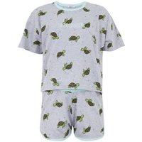 Girls Light Grey Turtle Slogan Short Pyjama Set New Look