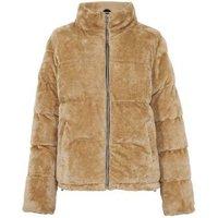 Pink Vanilla Camel Faux Fur Puffer Jacket New Look