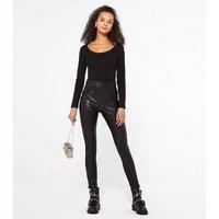 Black Seamed Leather-Look Leggings New Look