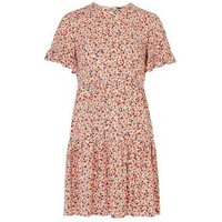 Red Ditsy Floral Frill Sleeve Smock Dress New Look