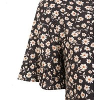 Black Floral Frill Sleeve Smock Dress New Look