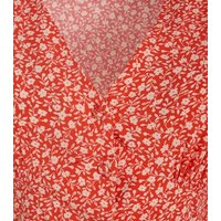 Red Ditsy Floral Button Front Tea Dress New Look