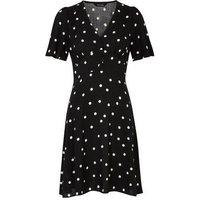 Black Spot Button Front Tea Dress New Look