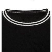 Black Stripe Trim Fine Knit Jumper New Look