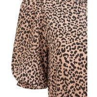 Brown Leopard Print Puff Sleeve Midi Dress New Look