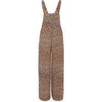 Brown Leopard Print Dungaree Jumpsuit New Look