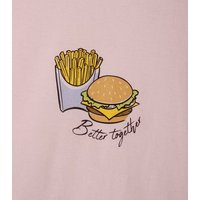 Girls Pink Burger and Fries Slogan Short Pyjama Set New Look