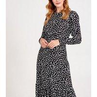 Blue Vanilla Black Floral Long Sleeve Midi Dress New Look