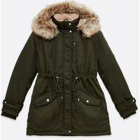 Petite Khaki Faux Fur Hooded Long Parka Jacket New Look