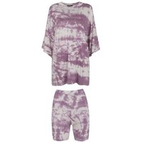Dark Purple Tie Dye Cycling Short Set New Look