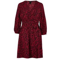 Red Floral Wrap Front Tea Dress New Look