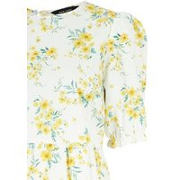 Yellow Floral Poplin Smock Midi Dress New Look
