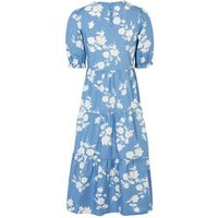 Blue Floral Poplin Smock Midi Dress New Look