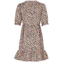 Brown Leopard Print Poplin Smock Dress New Look
