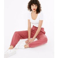 Deep Pink Seam Front Cuffed Joggers New Look
