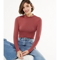 Rust High Neck Long Sleeve Top New Look