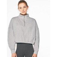 Pale Grey High Zip Neck Sweatshirt New Look