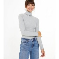 Grey Ribbed Roll Neck Top New Look