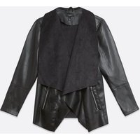 Curves Black Leather-Look and Suedette Waterfall Jacket New Look