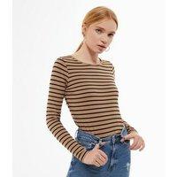 Brown Stripe Crew Neck Long Sleeve Top New Look