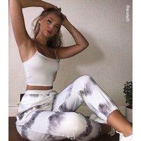 Cameo Rose Light Grey Tie Dye Joggers New Look