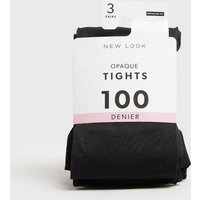 3 Pack Black Opaque 100 Denier Tights New Look