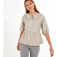 Pale Pink Leather-Look Collared Peplum Top New Look