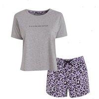 Purple Slogan Leopard Print Short Pyjama Set New Look