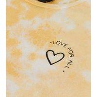 Girls Yellow Tie Dye Heart Slogan T-Shirt New Look