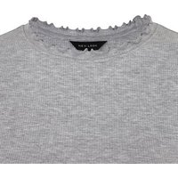 Grey Ribbed Frill Trim Long Sleeve Top New Look