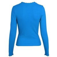 Blue Ribbed Frill Trim Long Sleeve Top New Look